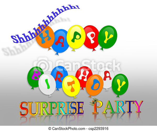 Birthday surprise party Illustration of colorful balloons