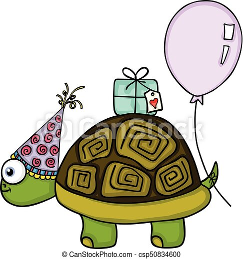 Scalable Vectorial Image Representing A Birthday Turtle With Balloon And Gift Isolated On White