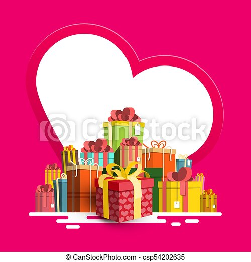Birthday - Valentine or Christmas Greeting Card. Paper Heart with Gift Box Pile. Vector. - csp54202635