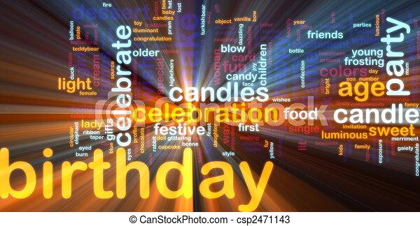 Birthday word cloud glowing - csp2471143