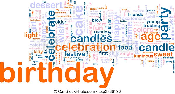 Birthday word cloud - csp2736196