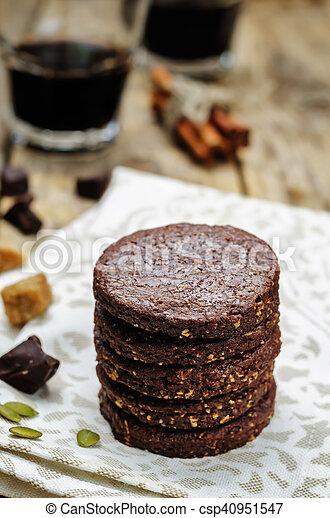 biscoitos, chocolate, mexicano, shortbread, pepita - csp40951547