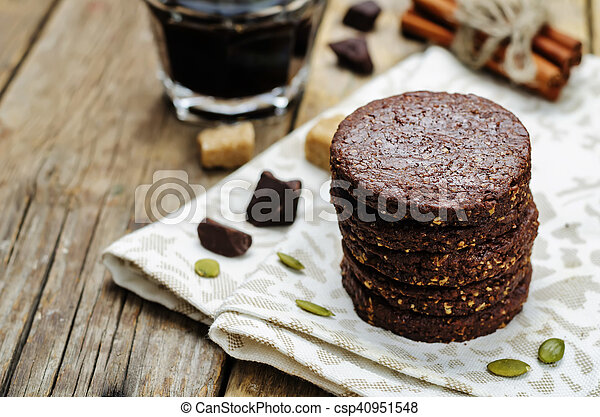 biscoitos, chocolate, mexicano, shortbread, pepita - csp40951548