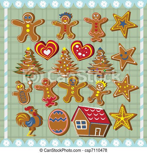 biscoitos, gengibre, pão - csp7110478