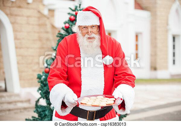 biscotti, claus, santa, offerta - csp16383013