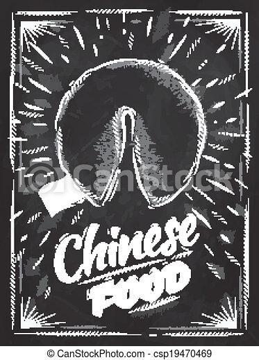biscotti, fortuna, cibo cinese, manifesto, gesso - csp19470469