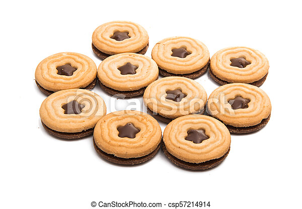 biscuits sandwich with a stuffing isolated - csp57214914