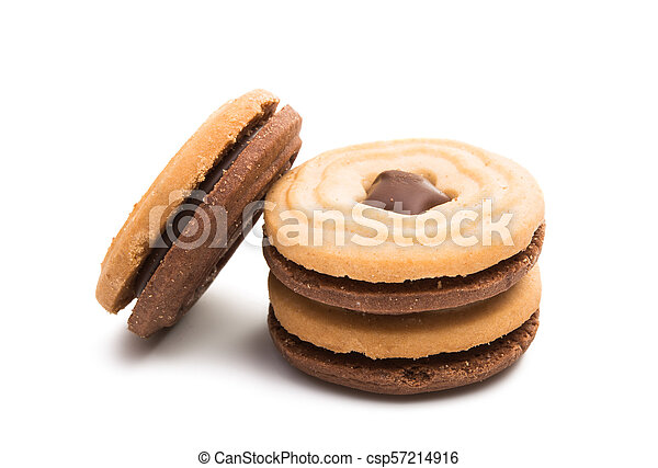 biscuits sandwich with a stuffing isolated - csp57214916