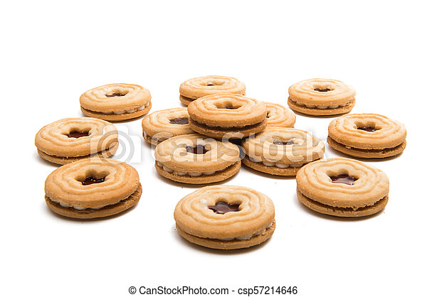 biscuits sandwich with a stuffing isolated - csp57214646