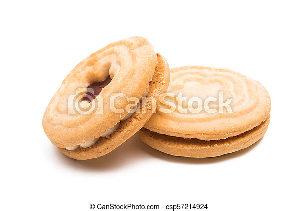 biscuits sandwich with a stuffing isolated - csp57214924