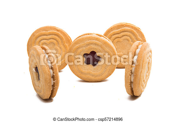 biscuits sandwich with a stuffing isolated - csp57214896