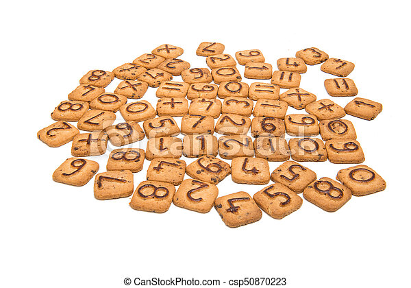Biscuits with numbers isolated - csp50870223