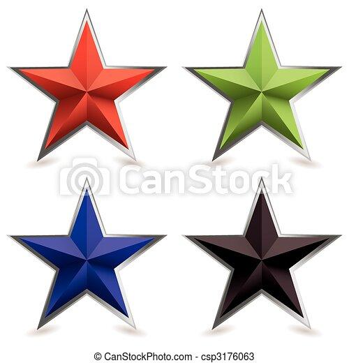 bisel, forma, metal, estrela - csp3176063