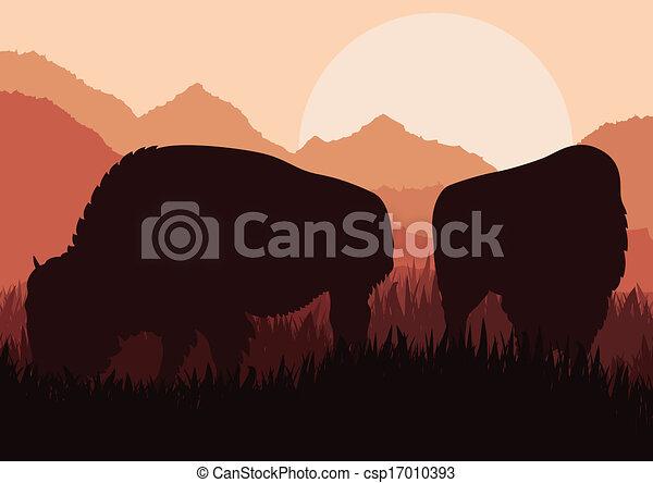 Bison family in wild America nature landscape vector - csp17010393