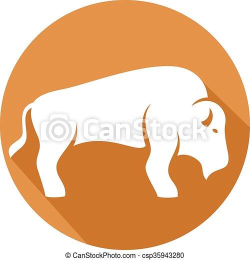 bison flat icon - csp35943280