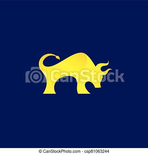 Bison logo design, bull vector logo - csp81063244