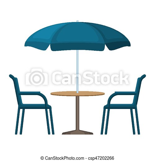 Bistro Round Table With Open Umbrella Tent And Two Chairs Vector