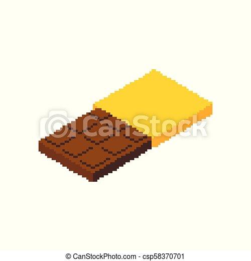 Bit Nourriture Barre Illustration Chocolat Vecteur Digital 8 Douceur Pixel Art