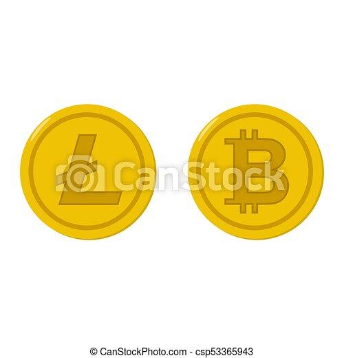 Bitcoin and litecoin coin icons set - csp53365943