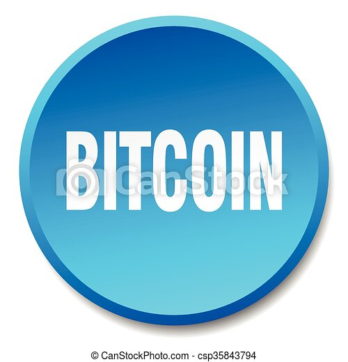 bitcoin blue round flat isolated push button - csp35843794
