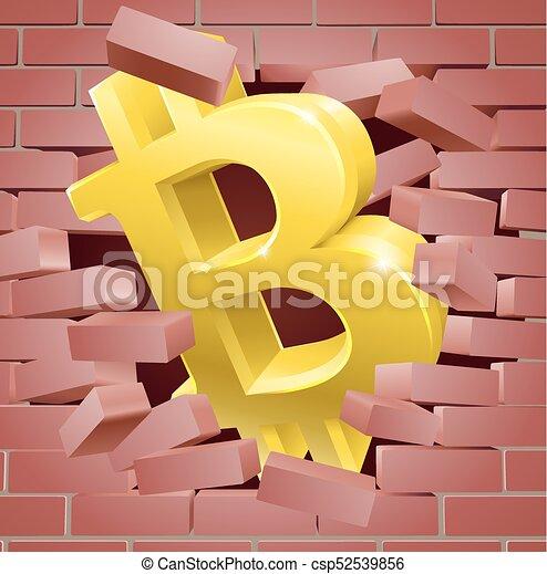 Bitcoin breaking wall concept. A gold bitcoin sign symbol icon ...