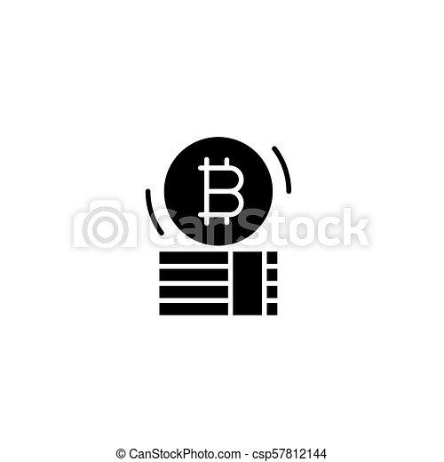 Bitcoin capital black icon concept. Bitcoin capital flat  vector symbol, sign, illustration. - csp57812144