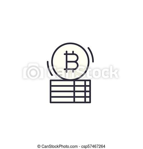 Bitcoin capital linear icon concept. Bitcoin capital line vector sign, symbol, illustration. - csp57467264