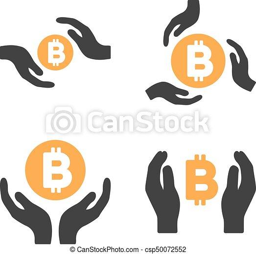 Bitcoin Care Hands Vector Icon Set - csp50072552