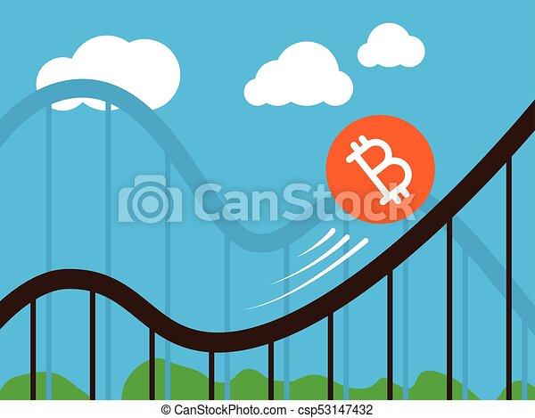 bitcoin coin on roller-coaster - csp53147432