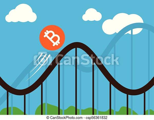 bitcoin coin on roller-coaster - csp56361832