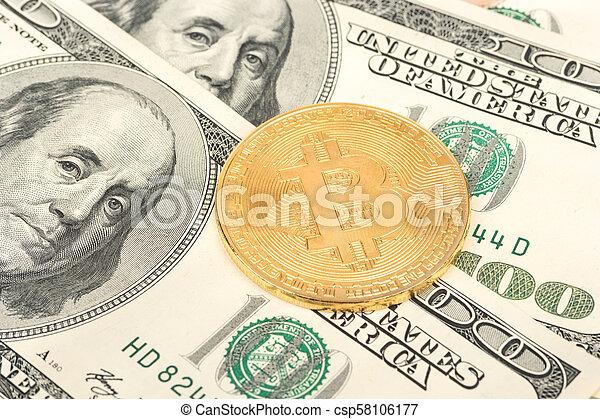Bitcoin coins with dollars - csp58106177