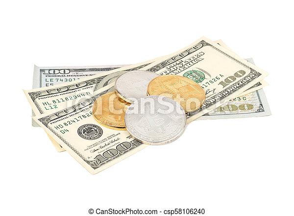 Bitcoin coins with dollars - csp58106240