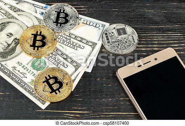 Bitcoin coins with dollars - csp58107400