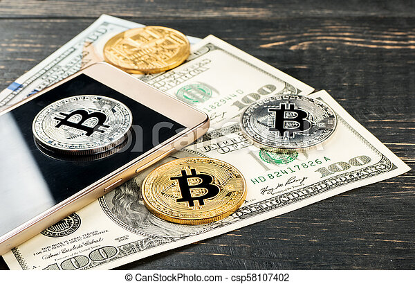 Bitcoin coins with dollars - csp58107402