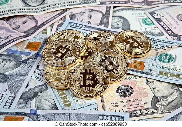 bitcoin coins with dollars - csp52089930