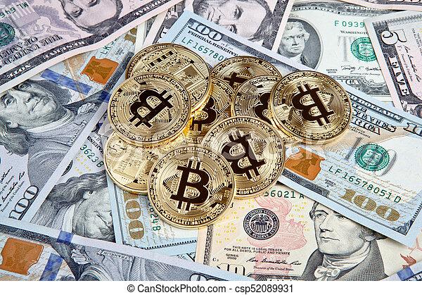 bitcoin coins with dollars - csp52089931