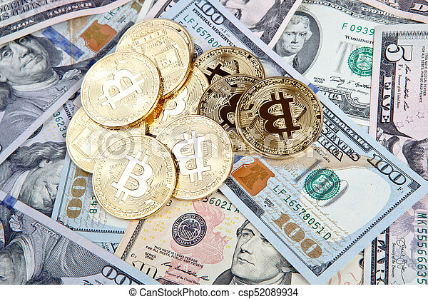 bitcoin coins with dollars - csp52089934