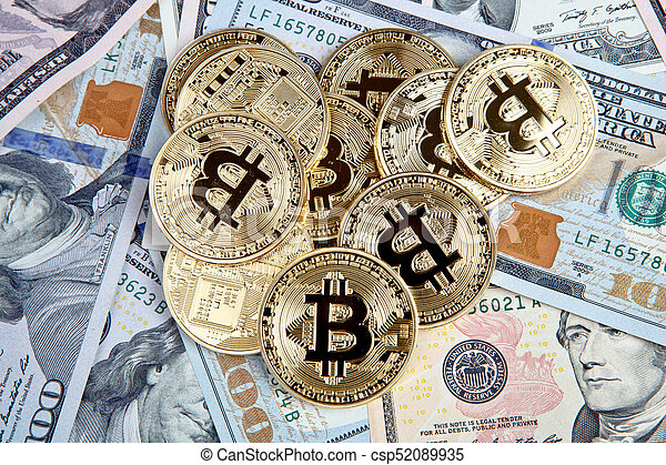 bitcoin coins with dollars - csp52089935