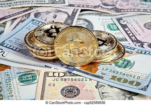 bitcoin coins with dollars - csp52089936