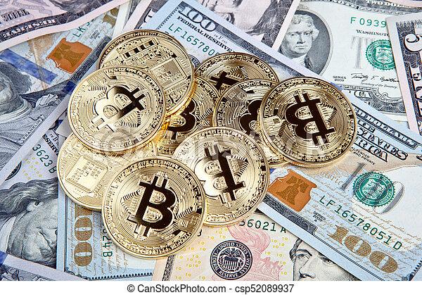 bitcoin coins with dollars - csp52089937