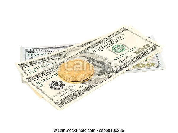 Bitcoin coins with dollars - csp58106236