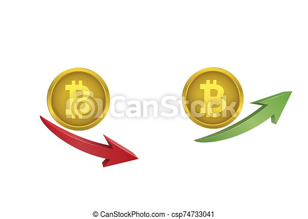 Bitcoin coins with green and red arrows - csp74733041