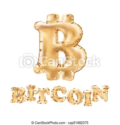 Bitcoin crypto currency blockchain balloon gold logo  Block chain sticker  for web or print vector