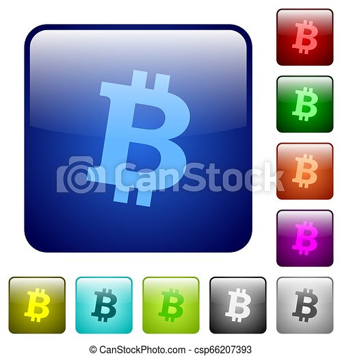 Bitcoin digital cryptocurrency color square buttons - csp66207393