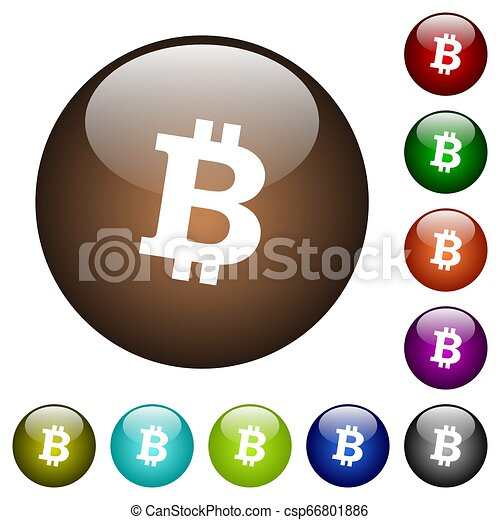Bitcoin digital cryptocurrency color glass buttons - csp66801886