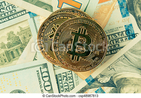 bitcoin., doré, cryptocurrency., bitcoin - csp48987813