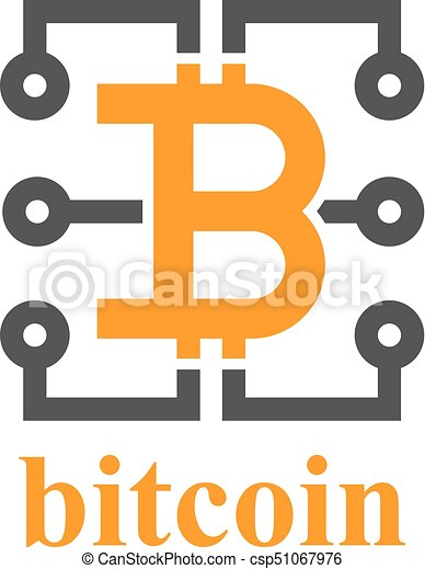 Bitcoin electronic circuit symbol - illustration for the web.