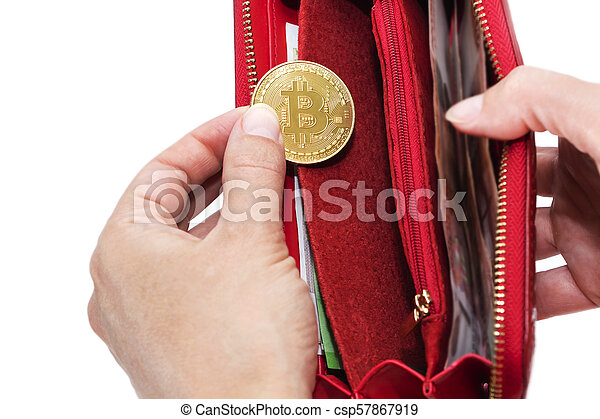 Bitcoin gold coins with wallet, close-up. Virtual cryptocurrency concept. - csp57867919