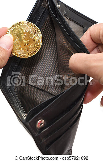 Bitcoin gold coins with wallet, close-up. Virtual cryptocurrency concept. - csp57921092