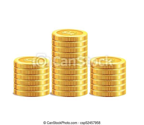Bitcoin golden coins pile stack. - csp52457958